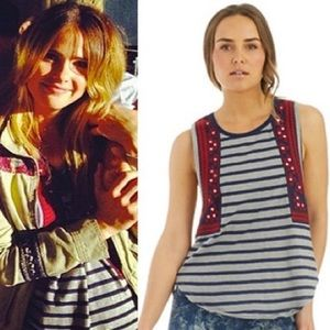 FREE PEOPLE Mirror, embroidery, stripes TANK